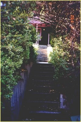The steps leading up to the porch